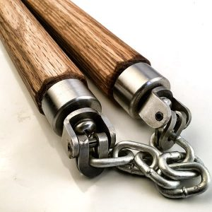 Red Oak Straight Octagon U Swivel Nunchaku
